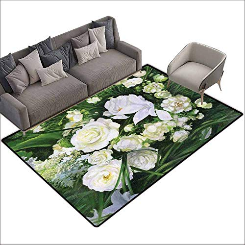 Bedroom Floor Rug Flower Oil Painting Style View Field Impressionism Art Floral Meadow Bridal Anti-Fading W5' x L7'10 Green Cream and White