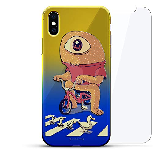 Rise Series 1 - Fantasy: One-Eyed Monster on Bike   Luxendary Gradient Series 360 Bundle: Clear Ultra Thin Silicone Case + Tempered Glass for iPhone Xs Max (6.5