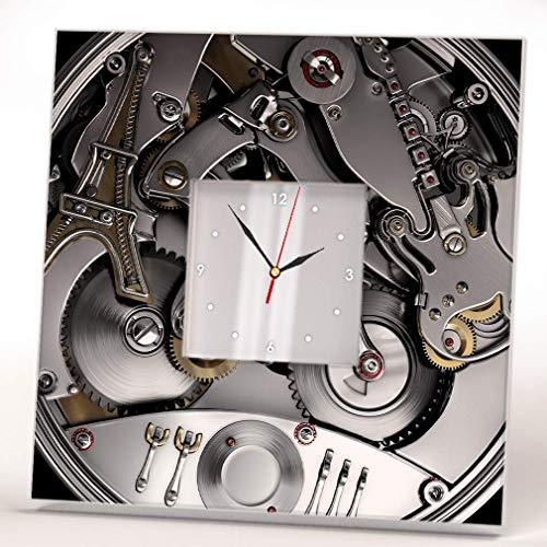 Clock Mechanism Bicycle Paris Guitar Steampunk Fan Wall Framed Mirror Print Design Art Decor Gift