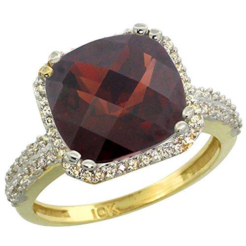 14K Yellow Gold Natural Garnet Ring Cushion-cut 11x11mm Diamond Halo, size - Natural Garnet Ring Gold 14k