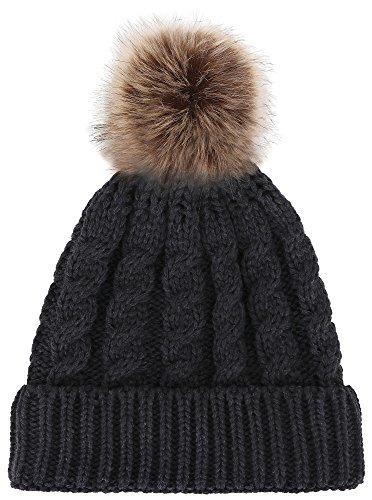 Womens Winter Soft Knitted Beanie Hat with Faux Fur Pom Pom,Heather Grey