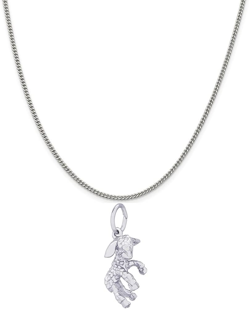 18 or 20 inch Rope Rembrandt Charms Sterling Silver Lamb Charm on a 16 Box or Curb Chain Necklace
