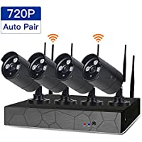 SDETER 4CH Wireless Security Camera System,CCTV Surveillance Systems(WIFI NVR Kits) With Four 1.0MP Wireless WIFI Indoor Outdoor IP Cameras,P2P,65FT Night Vision.