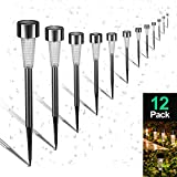 Sunwind Solar Pathway Lights Outdoor, Solar Lights Outdoor 12 Pack Solar garden Lights Stainless Steel Waterproof for Lawn, Yard, and Driveway (Gunmetal)