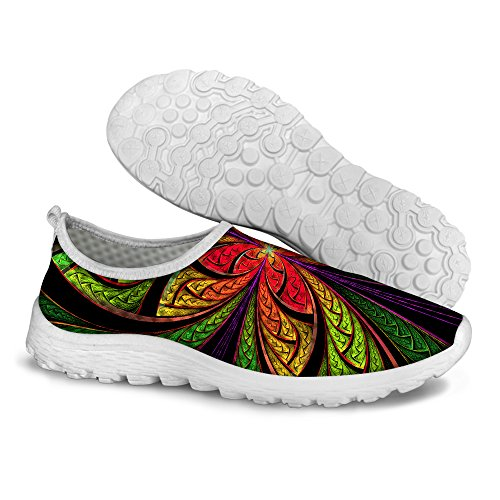 FOR U DESIGNS Stylish Casual Floral Pattern Mesh Comfortable Womens Walking Running Shoes Green 1 ChHfLguyJC