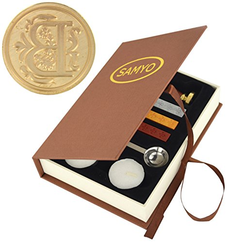 Stamp Seal Sealing Wax Vintage Classic Old-Fashioned Antique Alphabet Initial Letter Set Brass Color Creative Romantic Stamp Maker (B) (Sealing Wax Stamp B)