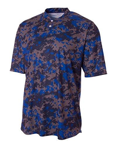 (A4 Sportswear Royal Blue Adult XL CAMO 2-Button Moisture Wicking Crewneck Jersey Henley)