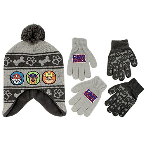 Nickelodeon Little Boys Paw Patrol Character Hat and 2 Pairs of Mittens or Gloves Cold Weather Set, Age 2-7 (Grey Design - Age 4-7 - Gloves Set)