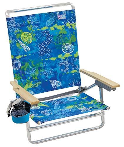 Margaritaville Outdoor Rio Gear Beach Classic 5-Position Lay-Flat Beach Chair - Baja Boho Shells, 30.8
