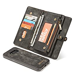 ICE FROG Samsung S8 Plus Wallet Case, Premium Folio Zipper Purse Leather Detachable Magnetic Case with Flip Credit Card Slots Stand Holder Cover for Samsung S8 Plus - Black