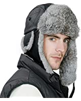 Mens Sheepskin Leather Rabbit Fur Winter Trapper Hunting Hat Ear Flaps Russian  Ushanka Cold Weather Ski 683fe5f797eb