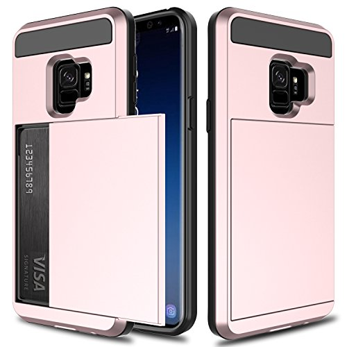 Galaxy S9 Case, S9 Wallet Case, Elegant Choise Hybrid Dual Layer Shockproof Armor Defender Rugged Protective Case Cover with Credit Card Slots Holder for Samsung Galaxy S9 / G960U (2018) (Pink)