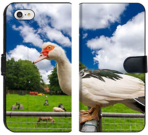 Luxlady iPhone 8 Flip Fabric Wallet Case Image ID: 23663491 White Duck Sitting on a Fence in a Petting Zoo in The Netherlands ()