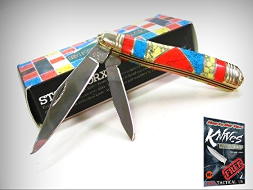ROUGH RIDER Turquoise Mother of Pearl STONEWORX Peanut 2 Blade Knife! 001911 + free eBook by (G10 Peanut)