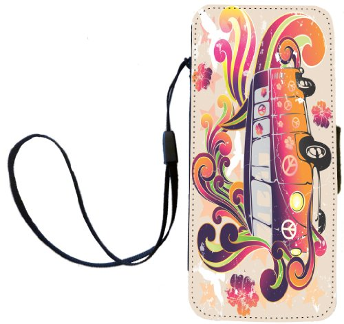 Rikki Knight Beatle Peace Retro van - flower power Flip Wallet iPhoneCase with Magnetic Flap for iPhone 5/5s - Beatle Peace Retro van
