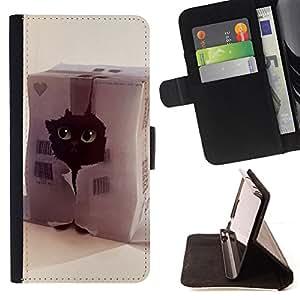 Jordan Colourful Shop - Funny Cute Cat For Sony Xperia M2 - < Leather Case Absorci????n cubierta de la caja de alto impacto > -