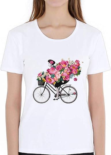 ZCYTIM Moda Floral de Flores Las Mujeres T Camisa Chica ...