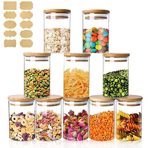 Tarro de Vidrio de Almacenamiento 10 PCS, 250ml Tarros de Cristal para Conservas Envases Cristal Alimentos, Recipientes Hermeticos para Cafe Recipiente Cereales te