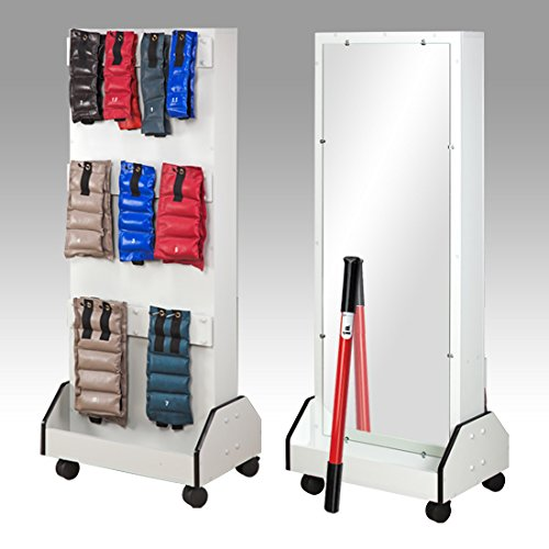 25.5'' x 18'' x 65'' White Comet DualRac Mobile Weight Rack - with Mirror - CL-5124A by Miller Supply Inc