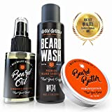 Essential Beard and Mustache Grooming Kit for Men - USA Made Gift Set Soothes Irritated, Dry Skin, Reduces Acne & Grows Your Beard Faster - Beard Oil, Balm Conditioner & Shampoo Wash