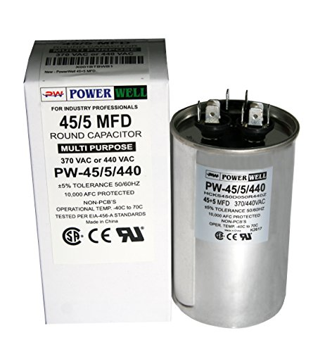 PowerWell 45+5 MFD 45/5 uf 370 or 440 Volt Dual Run Round Capacitor PW-45/5/R for Condenser Straight Cool or Heat Pump Air Conditioner