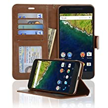 Navor Protective Flip Wallet Case for Huawei Nexus 6P - Brown (NX6PBR)