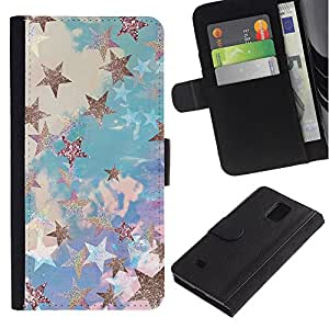 Graphic Case / Wallet Funda Cuero - Glitter Clouds Blue Purple - Samsung Galaxy Note 4 SM-N910