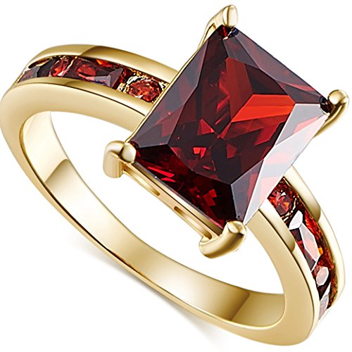 (Narica Women's Brilliant Emerald Cut Garnet CZ Wedding Ring Band)