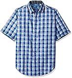 Robert Graham Men's Tall Size Greenfield Short Sleeve Woven Shirt, Navy XLT