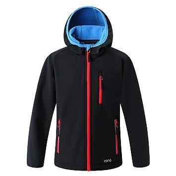 Eono Essentials - Chaqueta de senderismo impermeable infantil con capucha fija (negro, 152 cm): Amazon.es: Deportes y aire libre