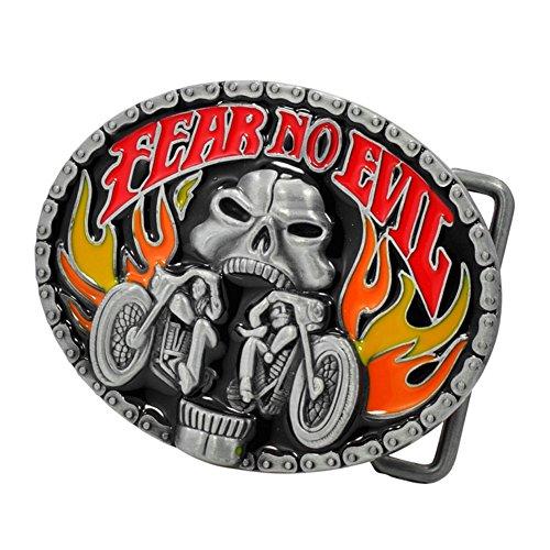 Buckle Rage Adult Mens Fear No Evil Biker Skull Motorcycle Fire Belt (Evil Buckle)