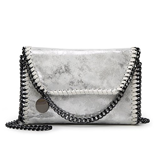 Valleycomfy Silver Metallic Shoulder Strap Women body Bags Bag Leather Handbag Chain Elegant Cross Pu Clutches Bag B1qBpZTr