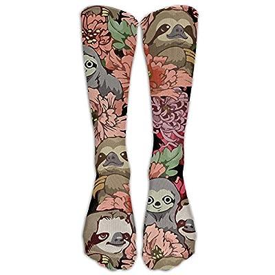 Awawawawa Sloth Floral Men Women Casual Athletic Stoking Crew Long Socks -