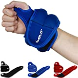 Movit 2 pack of Neoprene wrist weight cuffs with thumb loops, easily adjustable hook and loop closure Running Weights 2x 1,0 kg color blue