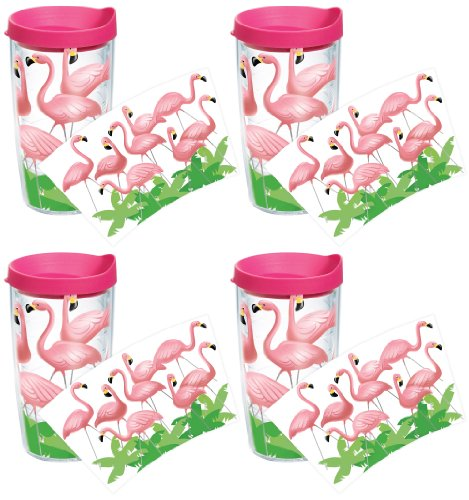 Tervis 1055784 Flamingos Tumbler with Wrap and Fuchsia Lid 4 Pack 16oz, Clear (4 Pack 16 Oz Tumblers)