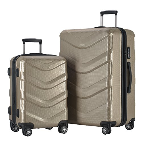 2 PC Luggage Set Durable Lightweight Hard Case Spinner Suitecase LUG2 RA8713 CHAMPAGNE by HyBrid & Company (Image #1)