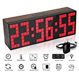 60 second countdown timer - ECVISION Large Big Number Jumbo LED snooze wall desk Alarm clock count down timer with calendar (Red)