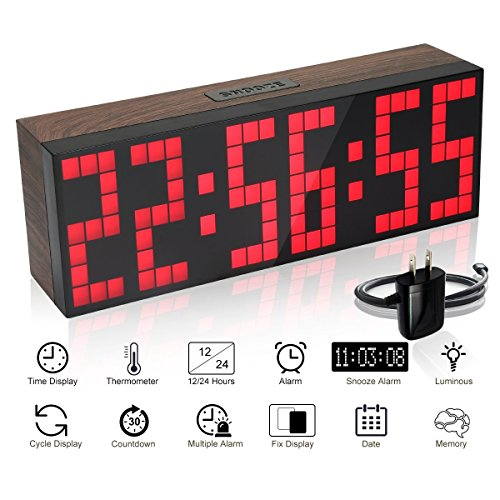 EC VISION Large Big Number Jumbo LED snooze wall desk Alarm clock count down timer with calendar (Red)