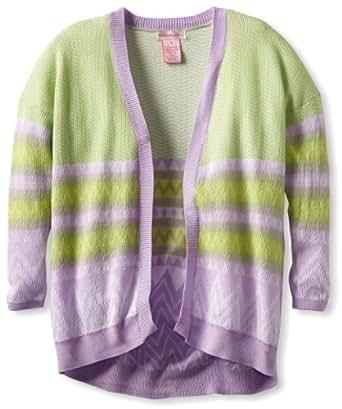 Design History Big Girls' Long Sleeve Cardigan, Spring Green Combo, Small