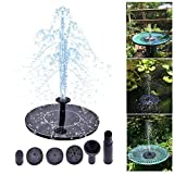 Solar Bird Bath Fountain Pump Powered 1.4W Solar Panel Water Floating Pump Kit with Different Spay Heads for Pond, Pool and Garden Decoration