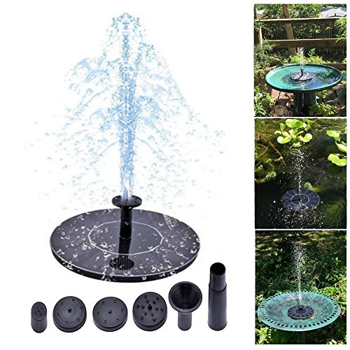 Solar Fountain Pump Bird Bath Powered 1.4W Solar Panel Water Floating Pump Kit with Different Spay Heads for Pond, Pool and Garden Decoration