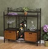 K&A Company Kitchen Dining Baker's Rack Storage Dining Metal Drawers with Wine Storage and Rattan Baskets