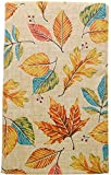 Multi Colored Leaves Vinyl Fall Tablecloth with Flannel Backing and Teal Leaves Accents. (52'' x 90'' Oblong)