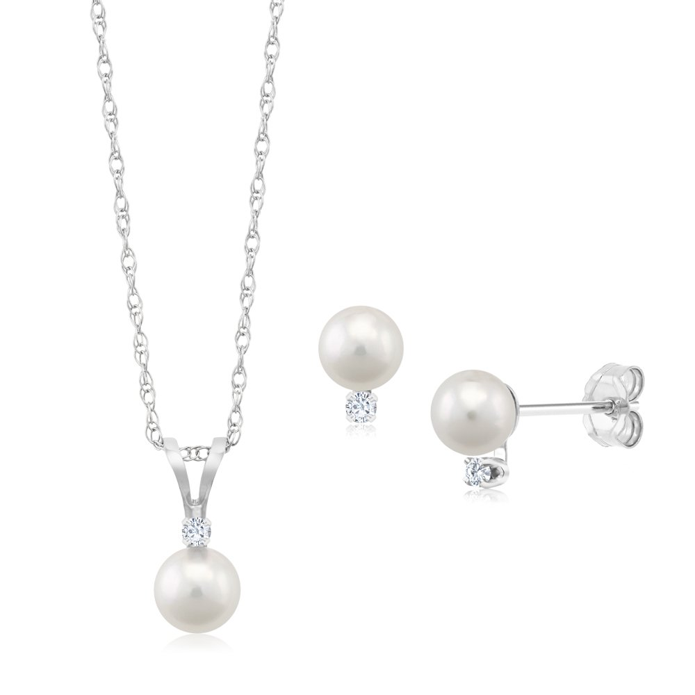 14K White Gold Diamond Accented Cultured Akoya Pearl Pendant with Earrings Set