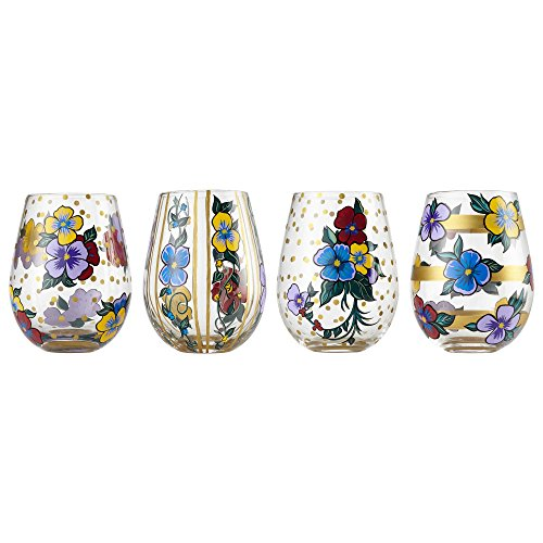 - Enesco 6002659 Designs by Lolita Set Pansy Blown, 20 oz. Stemless Wine Glass, 20 Ounces, Multicolor