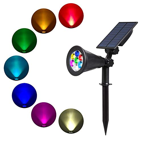Solar Spotlights, T-SUN 7 LED Color-Changing Solar Landscape Lamps, 2-in-1 Multi Use Outdoor Wall Lights, Decorative Lights for Outdoor, Garden, Lawn, Pathway, Party & Christma. (1 Pack)