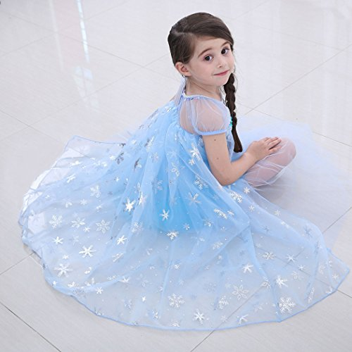 b1a7111c3bc Cotrio Elsa Dress Girls Snow Party Queen Halloween Costume Outfit Toddler  Kids Short Sleeve Fancy Party Princess Dresses with Accessories Size 3T  (2-3 ...
