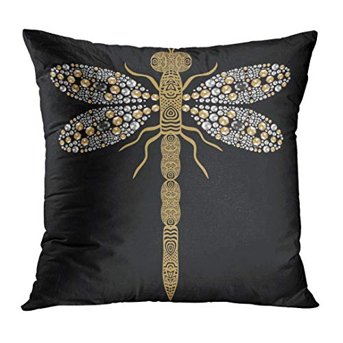 (TOMKEYS Throw Pillow Cover Beautiful of Flying Dragonfly Shiny Gold Silver and Black with Precious Rhinestones Decorative Pillow Case Home Decor Square 16x16 Inches Pillowcase)