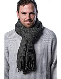 Mio Marino Mens Knitted Scarf - Winter Scarfs for Men - Ribbed Knit Mens Scarves
