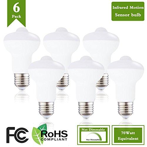 (Pack of 6)7W LED Security Floodlight Sensor Light Bulbs(70W Equivalent),E26 Base Motion Sensor Bulb 4000K Natural White 700 Lumens LED Sensor Bulbs Auto On/Off Night Lights for Indoor Outdoor For Sale